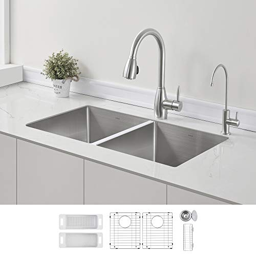 ZUHNE 32-Inch Double Bowl Undermount Stainless Steel Deep Kitchen Sink...