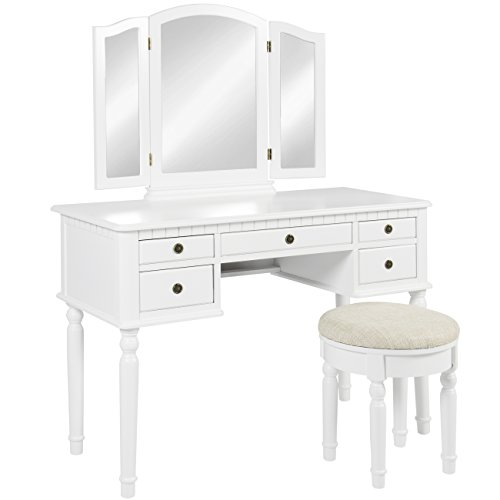 Best Choice Products Bedroom Makeup Cosmetic Beauty Vanity Hair Dressing Table Set w/Tri-Folding Mirror, Upholstered Stool Seat, 5 Drawer Storage Organizers - White
