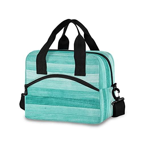Bolsa de almuerzo para hombres y mujeres, color verde turquesa, con aislamiento de madera, tablero de madera, granja, caja grande para el trabajo, cajas de almuerzo reutilizables para adultos