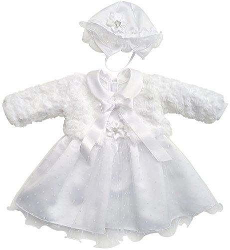 Kleid Babykleid Taufkleid Festkleid Bolero Jacke Mädchen Baby Taufe Taufjacke, Mia weiß, 56