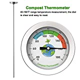 Xpccj Compost Thermometer, Soil Measuring Tool, 304 stainless steel Measure the Temperature of the Compost Soil