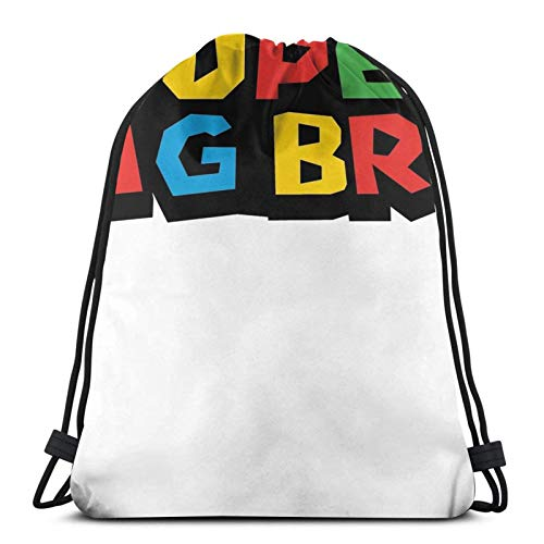 WH-CLA Drawstring Backpack Super Big Bro Brothers Ma-Rio Funny Graphic tee For Fami Unique Print Travel Anime...