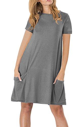YMING Damen Lockeres Kleid Lose Blusenkeid Kurzarm Lange Shirt Casual Strickkleid Übergröße,Dunkelgrau,XXL/DE 44-46