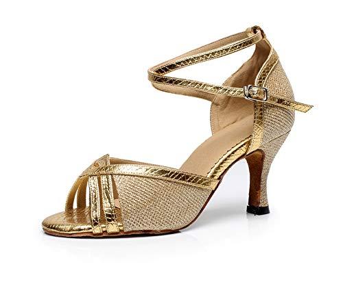 MINITOO Chaussures de danse latine à paillettes pour femme - Or - doré, 39.5 EU