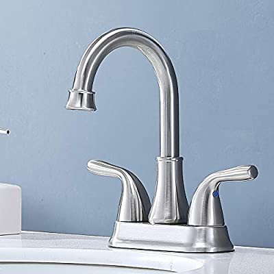 Friho Commercial Lavatory Vanity Two Handle Brushed Nickel Bathroom Faucet, Lead-Free Bathroom Sink Faucet with Drain Stopper and Water Hoses