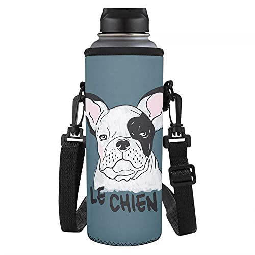PHAYON Cute French Bulldog Water Bottle Carrier Bag for Stainless Steel and Plastic Bottles Insulated Water Bottle Protector Travel Shopping Bottle Pouch Holder