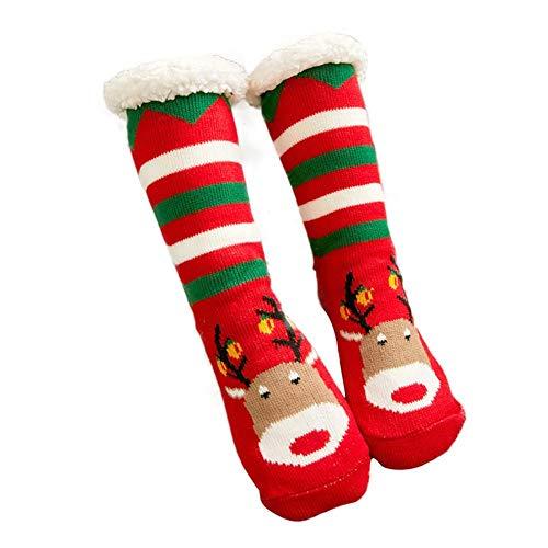 Binwe Calze Pantofole Natalizie da Donna Calze Soffici in Pile Invernali Calze Antiscivolo Spesse Calde