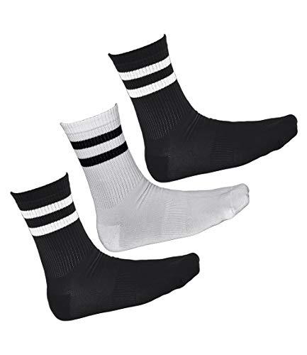 vitsocks Calcetines Deporte BAMBÚ Antiampollas Hombre (3 PARES) Skate Tenis, 2x negros 1x blanco, 43-46