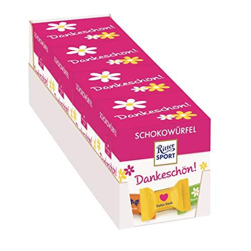 Ritter Sport Schokowürfel Dankeschön 4x (176 g), das Geschenk zum Danke sagen, einzeln verpackte Mini-Schokoladenwürfel, verschiedene Sorten