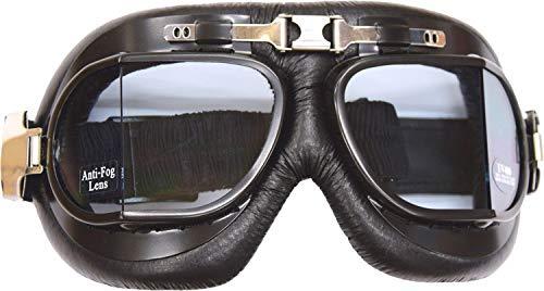 AMAS The Best Gafas de moto EPOCA CUSTOM Vintage CAFÉ RACER OLD Style lenti angolari NERI montatura nera