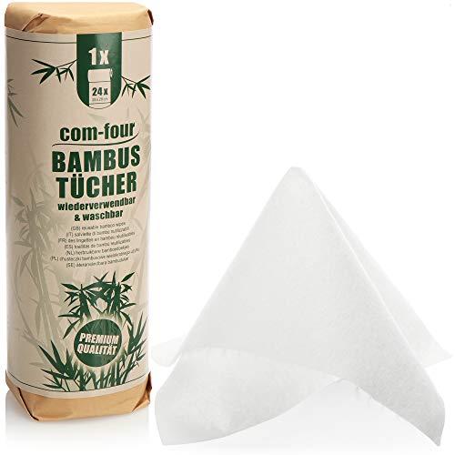 com-four® Rollo de Cocina, Toallas Multiusos de bambú Altamente absorbentes, 24 Hojas por Rollo Reutilizables, Toallas domésticas Lavables, Producto Natural ecológico (1 Rollo de 24 Hojas - Blanco)