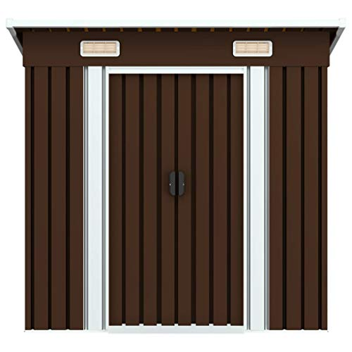 Cikonielf Metal Garden Shed with Double Sliding Doors, Garden Shed for Tool Storage, 190 x 124 x 181 cm, Brown