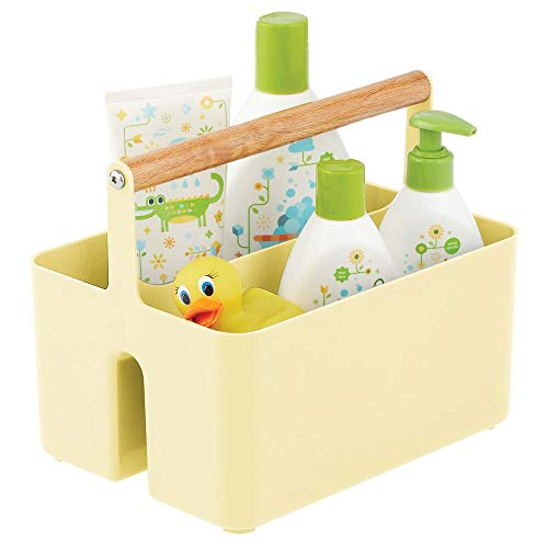 mDesign Plastic Portable Nursery Storage Organizer Caddy Tote - Divided Basket Bin with Wood Handle - Holds Bottles, Spoons, Bibs, Pacifiers, Diapers, Wipes, Baby Lotion - Light Yellow