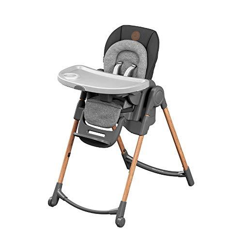 Maxi-Cosi Minla Seggiolone Pappa 6 funzioni in 1, Reclinabile con cuscino riduttore, Regolabile in altezza in 9 posizioni, Sdraietta, Sgabello, Alza sedia, Bambini 0-7 anni, colore Essential Graphite