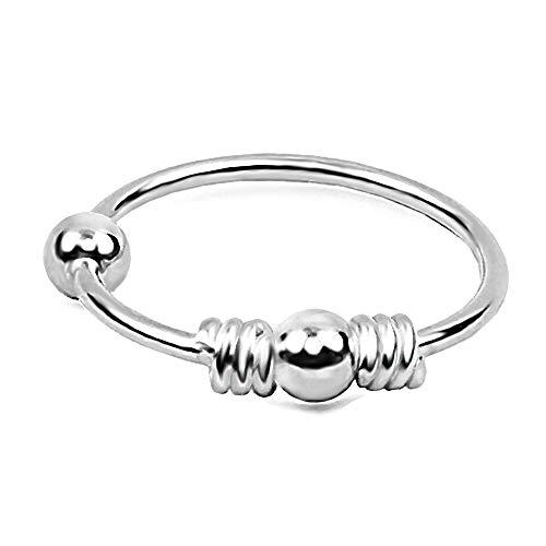 Piercing Ring dünn 925 Sterling Silber Hoop Ohrpiercing und Nasenpiercing für Damen und Girls Ball Closure