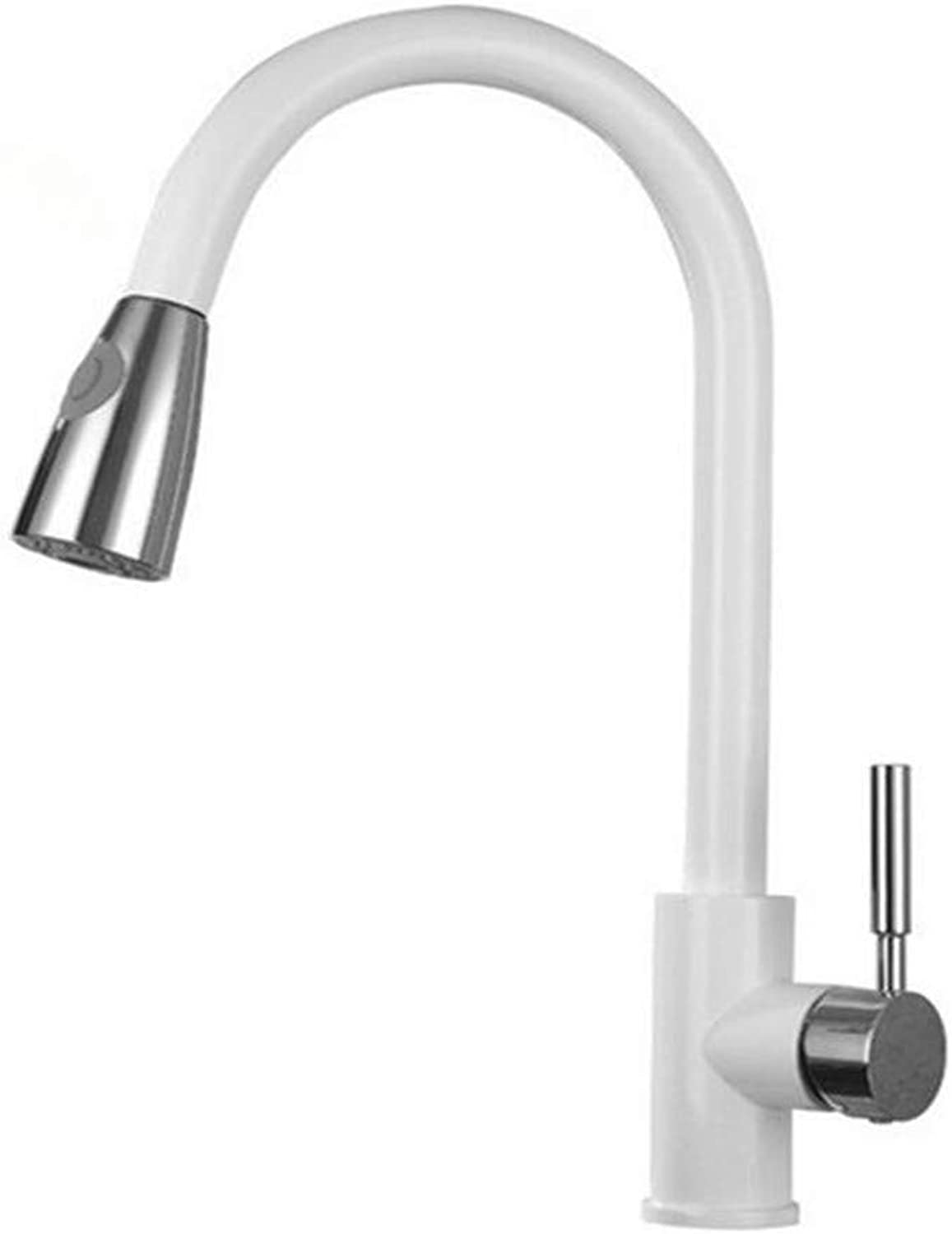 Faucet Washbasin Mixerwhite Finished Brass Kitchen Basin Faucet Pull Out Spring Spout Mixer Tap Single Handle Hot Cold Swivel Tap