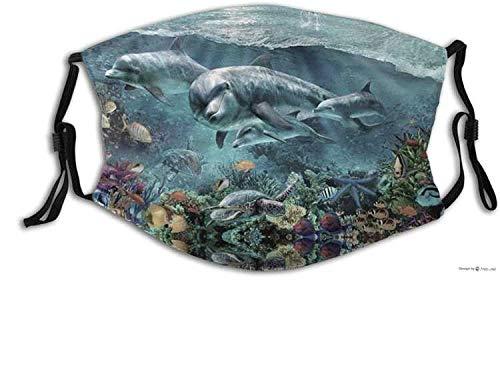 Eletina candy Mascarillas faciales divertida máscara de tela de animales, máscara de delfín cómodo pasamontañas reutilizable bufanda ajustable para adultos (con 2 filtros) dibujos animados adultos