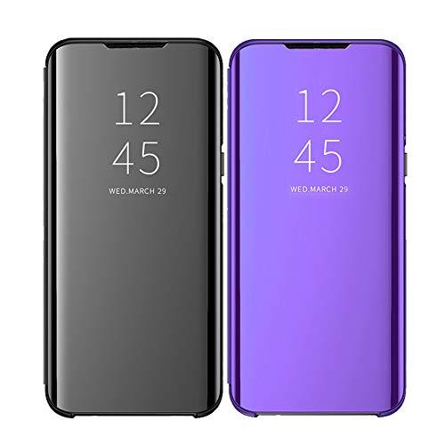 Kompatibel mit Galaxy S11+ Plus Hülle - [2 Stück Schwarz Satz] Klapphülle Bumper Handyhülle Schutzhülle für Galaxy S11+ Plus Handytasche Spiegel Hüllen Zubehör Flip Case-2