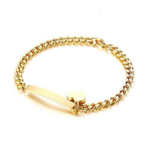 N/A Pulsera Joyas Hip Hop Colgante Lock Charm Bracelet para Mujeres Hombres Joyas Acero Inoxidable Chain Lock Bracelet Friendship Gifts