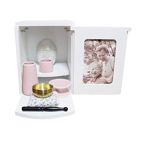 ミニ仏具3点セット ピンク おりん ミニ仏壇 メモリアルBOX ホワイト 2〜4寸骨壷収納 ボックス