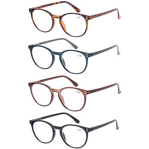 4 Pack Retro Round Reading Glasses Men Women Spring Hinges Lightweight...