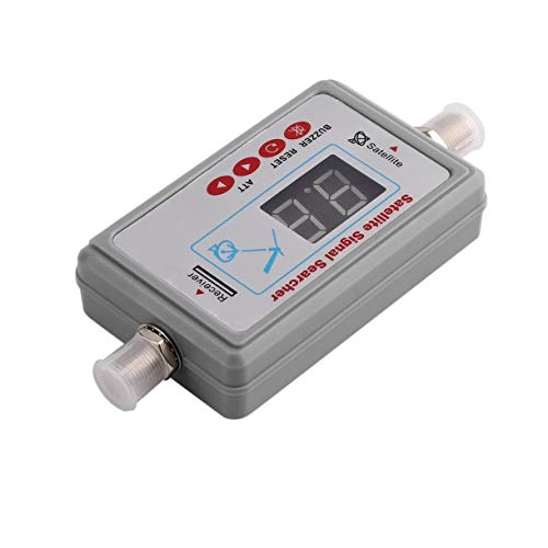 Mini Antena Digital portátil Buscador de señal de satélite LCD Zumbador JS-SF05 Medidor de Receptor de satélite de TV Herramienta de Detector de señal de TV (Color: Gris)