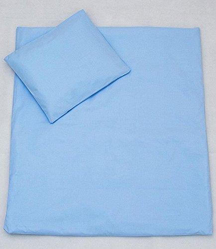 2 PC bébé Parure de lit avec taie d'oreiller Parure de lit de remplissage pour berceau, Berceau, Landau – Bleu uni