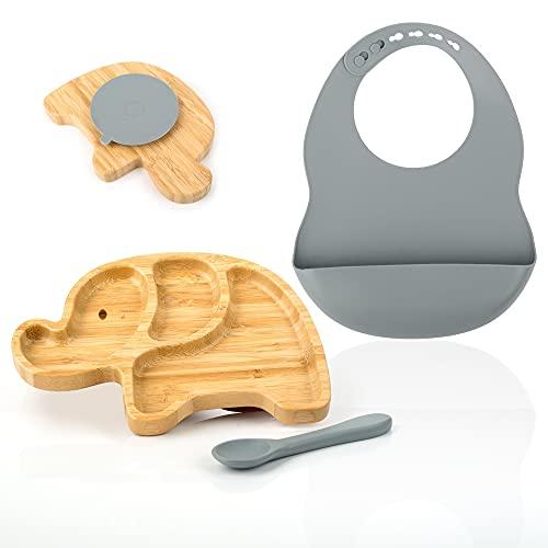 HappyDoo - Vajilla Infantil Bebe De Bambú Con Ventosa - Incluye Plato Bebe Ventosa - Babero y Cuchara Silicona - Vajilla Bebe Bambú Forma Elefante - Plato Bambú Blw - Color Azul
