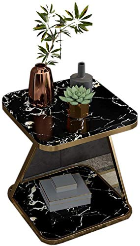 File cabinets Nachttisch, Couchtisch, kleine Wohnung, Wohnzimmer, quadratisch, doppelschichtig, Stauraum für mehrere Schlafzimmer, Nachttisch, Beistelltisch (Farbe: schwarz)