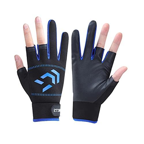 Guantes de pesca de hielo Guantes de tiro 3 dedos de corte antideslizante a prueba de viento para esquí, motociclismo, gimnasio, caza (azul)