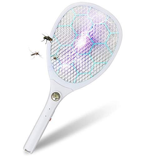 BeauFlw Elektrische Fliegenklatsche, Insektenvernichter Fliegenfänger 3000V Moskito Killer mit 1200mA Wiederaufladbarer Akku, LED-Beleuchtung Doppelte Schichten Mesh Schut