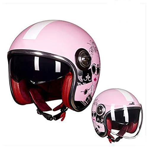 Ssmmxx Harley Motorradhelm Pink Woman, Motorradpilot Jethelm Halbhelm, DOT/ECE-zertifizierter 3/4 Open-Helm,L