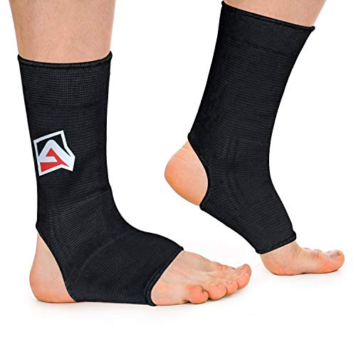 AQF MMA Knöchelstütze Muay Thai Foot Brace Guard Kick Boxing Sprains Achilles Sehne Schmerzlinderung Protektor Elastische atmungsaktive Kompressionshülle (Schwarz, L)