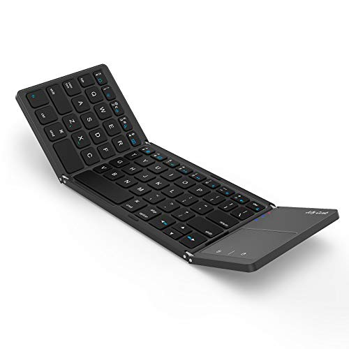 Foldable Bluetooth Keyboard for iPad, Jelly Comb B003BA Folding Portable Travel Rechargeable Keyboard UK Layout with Touchpad for iPad iOS Mac OS Systems, Black