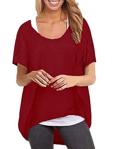ZANZEA Maglietta Donna Manica Corta Taglie Forti Irregolare T Shirt Sciolto Tunica Casual Top Manica Pipistrello Collo Tondo Vino Rosso L