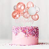 Outus Latex Balloon Birthday Cloud Cake Topper, Mini Balloon Garland Cake Topper Confetti Balloon Acrylic Happy Birthday Cupcake Topper for Birthday Cake Supplies Decorations (Romantic Styles)