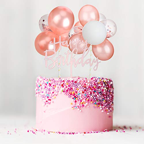Outus Latex Ballon Wolke Kuchen Topper, Mini Ballon Girlande Kuchen Topper Konfetti Ballon Acryl Happy Birthday Cupcake Topper für Geburtstagstorte Liefert Dekorationen (Roségold Farbe Thema)