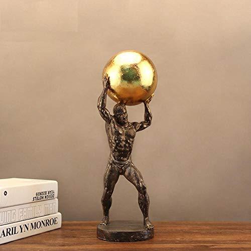 BGHYU Estatua de Hércules Escultura de Personaje Sala de Estudio Gabinete de Vino Decoración Gift-A_15 * 14 * 46CM