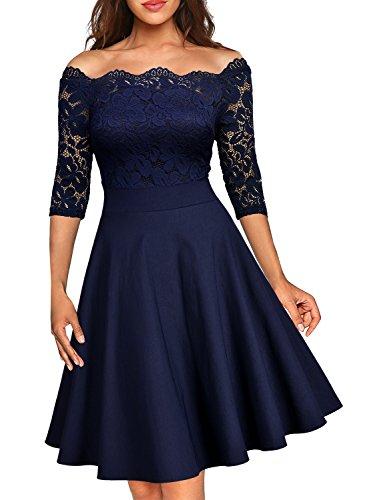 MIUSOL Elegante off-Spalla Pizzo Coctel Vestito Donna Corta Blu X-Large