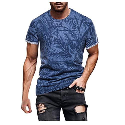 Camisetas de manga corta para hombre, de verano, de manga corta, con estampado retro, corte ajustado, básico. B azul L