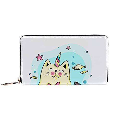 XCNGG Portafoglio da donna con cerniera e pochette per telefono, borsa da viaggio in pelle pochette porta carte organizer da polso portafogli, simpatico gatto sirena