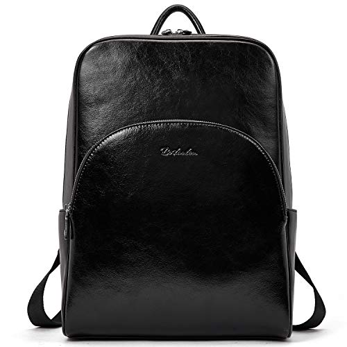 BOSTANTEN Genuine Leather Backpack for Women, 14 Inch Laptop Rucksack Purse Fashion Casual City Daypacks School Convertible Backpack Black