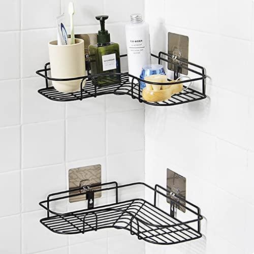 Estantería esquinera para ducha, estante de baño, estante de ducha, sin agujeros, de metal, para esquina, adhesivo para el baño, cocina, estante adicional para el baño, 2 unidades, color negro