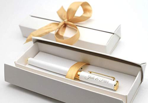Personalisierter metallischer weißer Tintenroller Stift + Geschenkbox | Schaffen Sie ein ganz einzigartiges Geschenk | Lasergravur