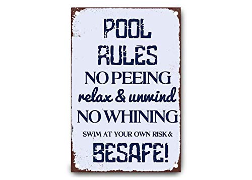 CDecor Pool Rules No Peeing Rela & Unwind Blechschilder, Metall Poster, Retro Warnschild Schilder Blech Blechschild Malerei Wanddekoration Bar Geschäft Cafe Garage