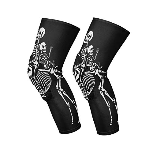 Knee Pads For Men Couple Of Skeletons Riding A Unicorn Knee Brace Support Soft Leg Knee Compression Sleeves Socks Protection For Women Working Out Volleyball Yoga Basketball Colleyball Adults Youth