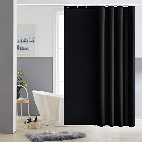 Furlinic Schmaler Duschvorhang für Dusche und Badewanne, Badvorhang Textil aus Polyester Stoff schimmelresistent Wasserabweisend und Waschbar, Schwarz 150x180 mit 10 Duschvorhangringen.
