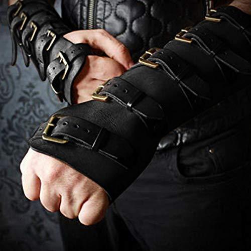 TMIL Protectores de Brazo de Cuero Medievales Guante de Tiro con Arco, muñequera Ajustable, muñequeras Retro para Hombres, Protector de Hebilla de cinturón con Costuras de Color sólido,Negro