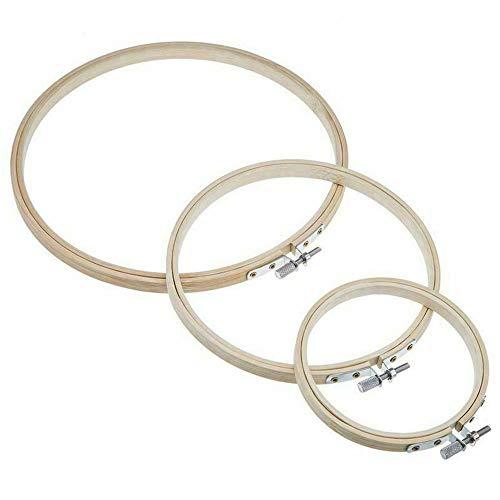 XJF Juego de 3 aros de bordado, de bambú, círculo, punto de cruz, anillo de aro