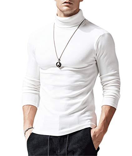 Herren Rollkragen Langarmshirts T-Shirts Slim Fit Rollkragen Unterzieh Rolli Longsleeve Turtleneck Shirt Pullover Einfarbig (#Weiß,Medium)